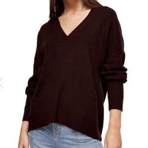 NWT Topshop V-Neck Purple Plum Sweater